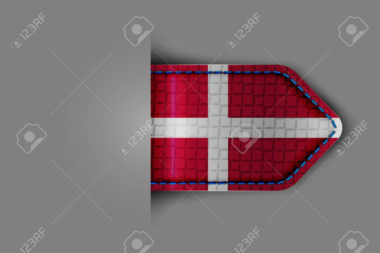 Flag of Denmark in the form of a glossy textured label or bookmark  Vector illustration Stock Vector - 23213577
