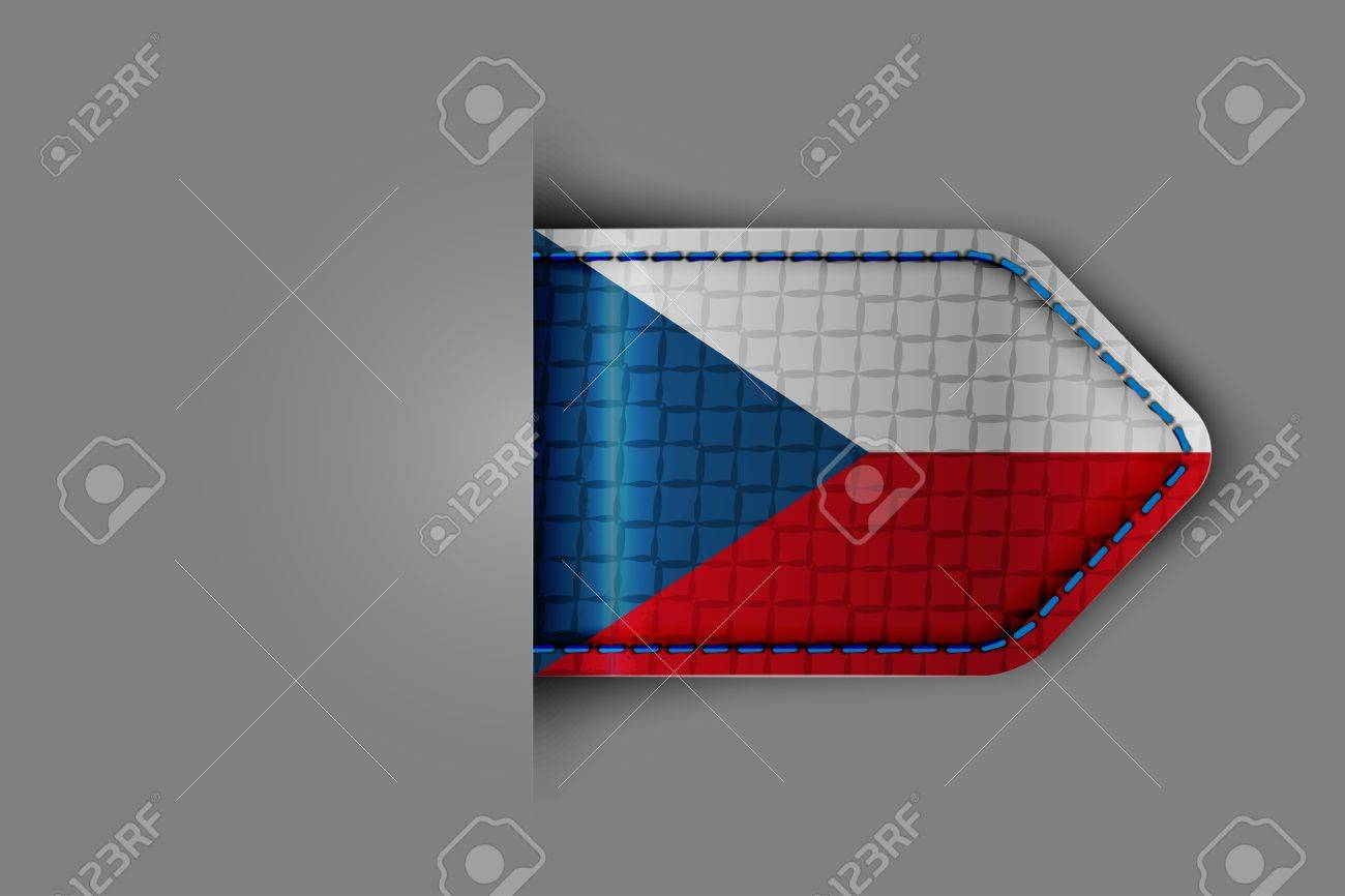 Flag of Czech Republicn the form of a glossy textured label or bookmark  Vector illustration Stock Vector - 23541103