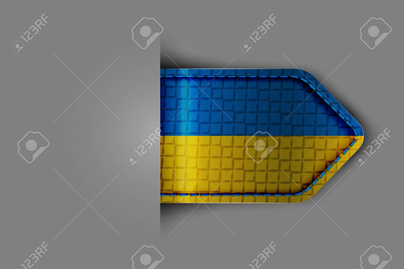 Flagof Ukraine in the form of a glossy textured label or bookmark  Vector illustration Stock Vector - 23541107