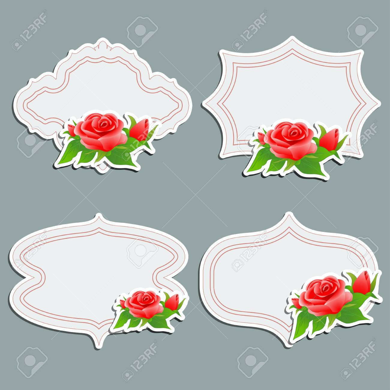 Set Of Vintage Greeting Cards With Bright Roses Vector Illustration