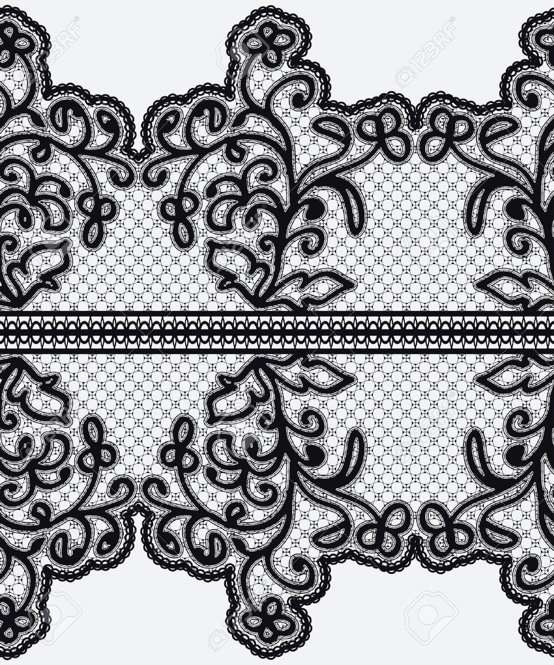 Cinta Sin Costuras De Encaje De Ancho Con Flores Caladas Ilustración Del Vector