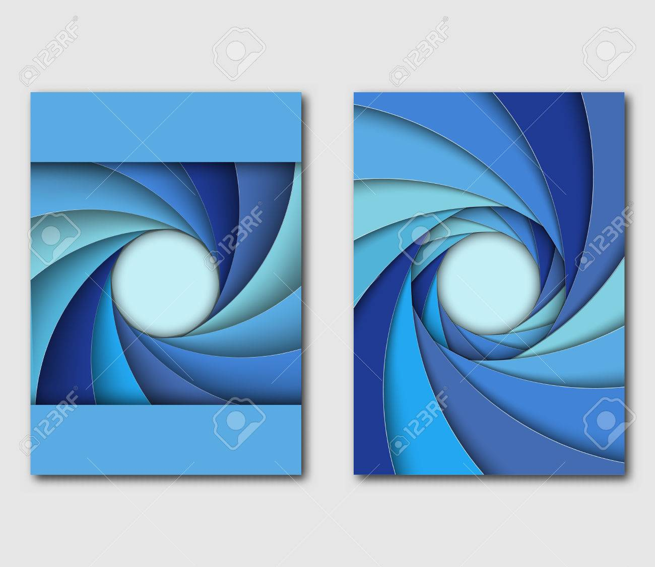 set of design templates handbill or flyer different shades of blue shutter aperture vector