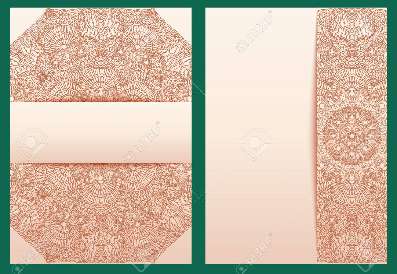Henna Mehndi Vector : Set of tribal template for design invitations or greeting cards