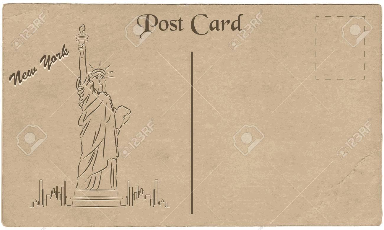 Postal Antigua De Nueva York, EE.UU. Con Un Dibujo De La Estatua De ...