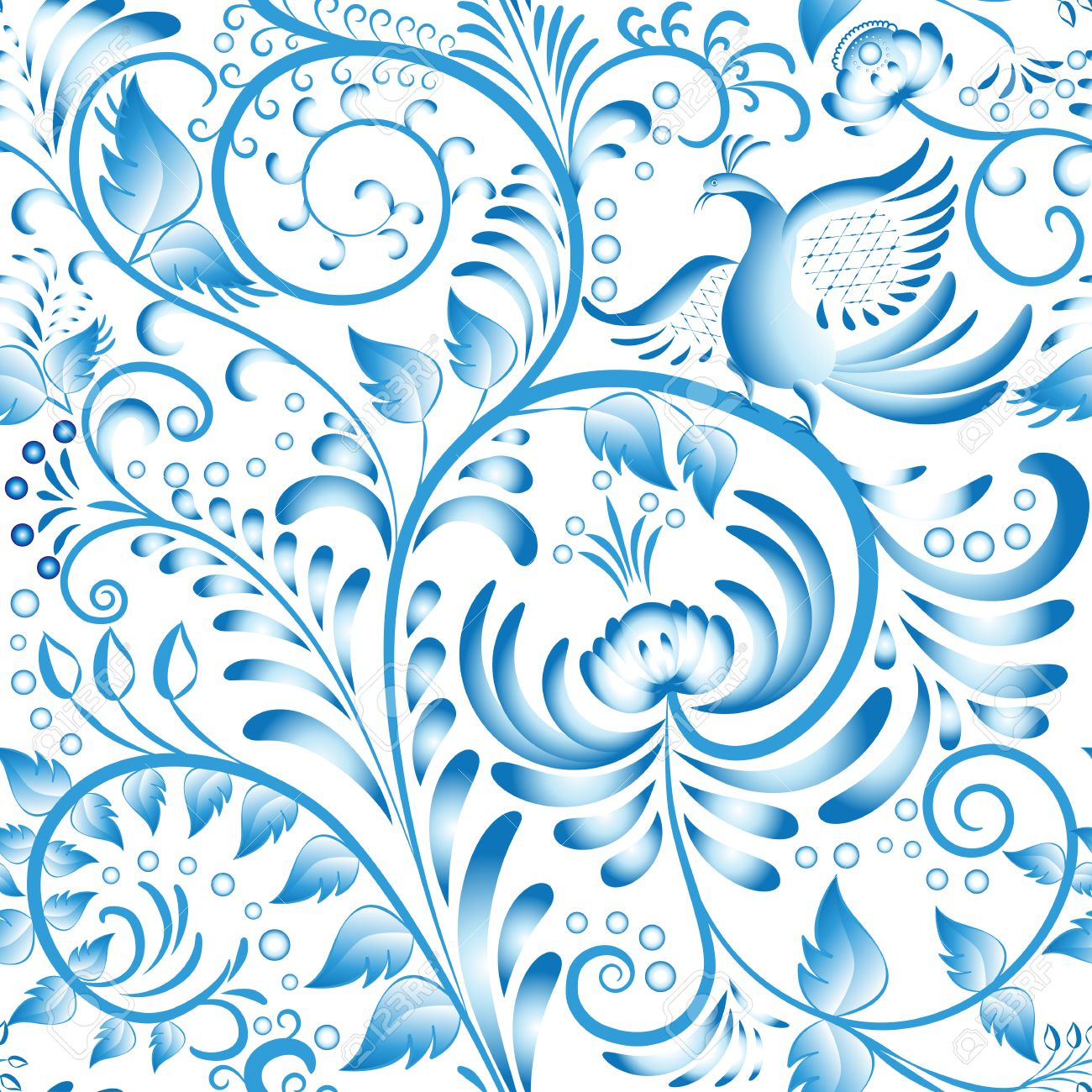 seamless floral pattern blue painted in gzhel style with flowers