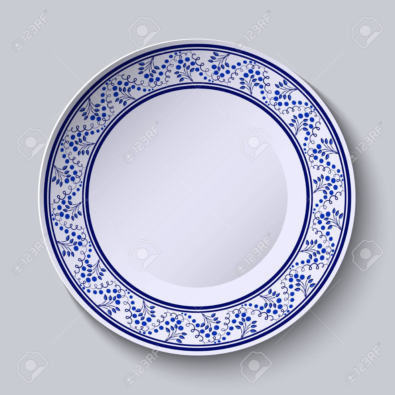 Plate With Blue Decorative Border. Template Design In Ethnic ...