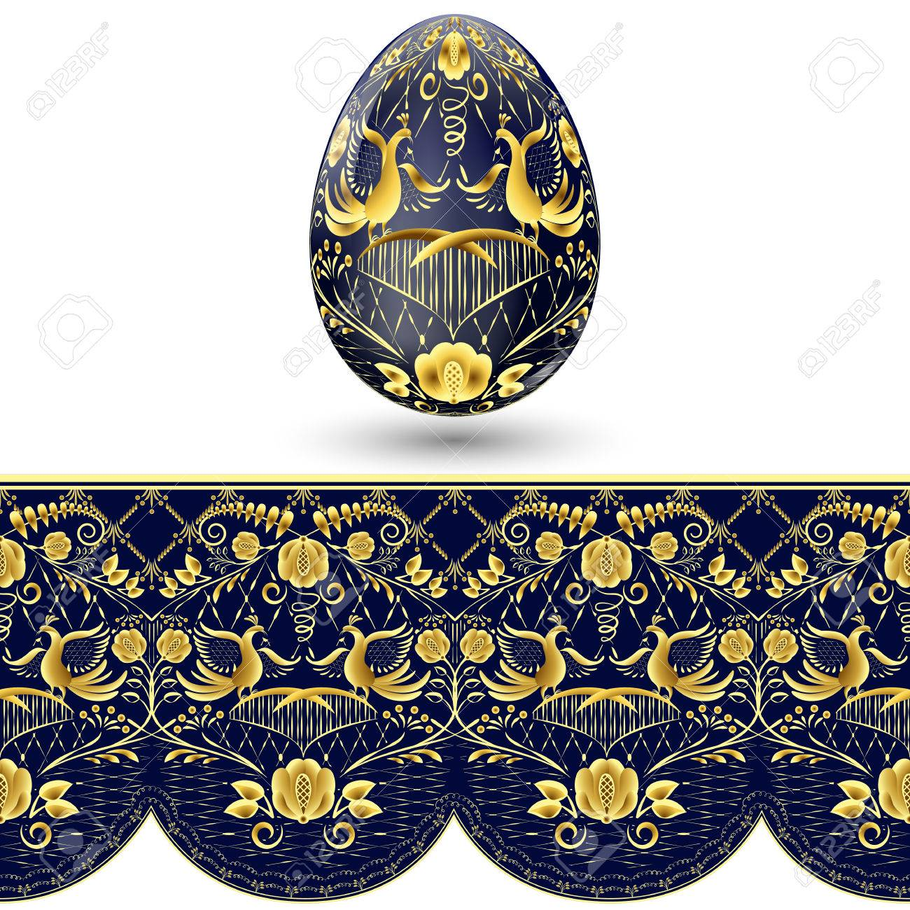 Easter egg painted. Dark blue and gold seamless pattern in national style of painting on porcelain. Vector illustration - 52180482