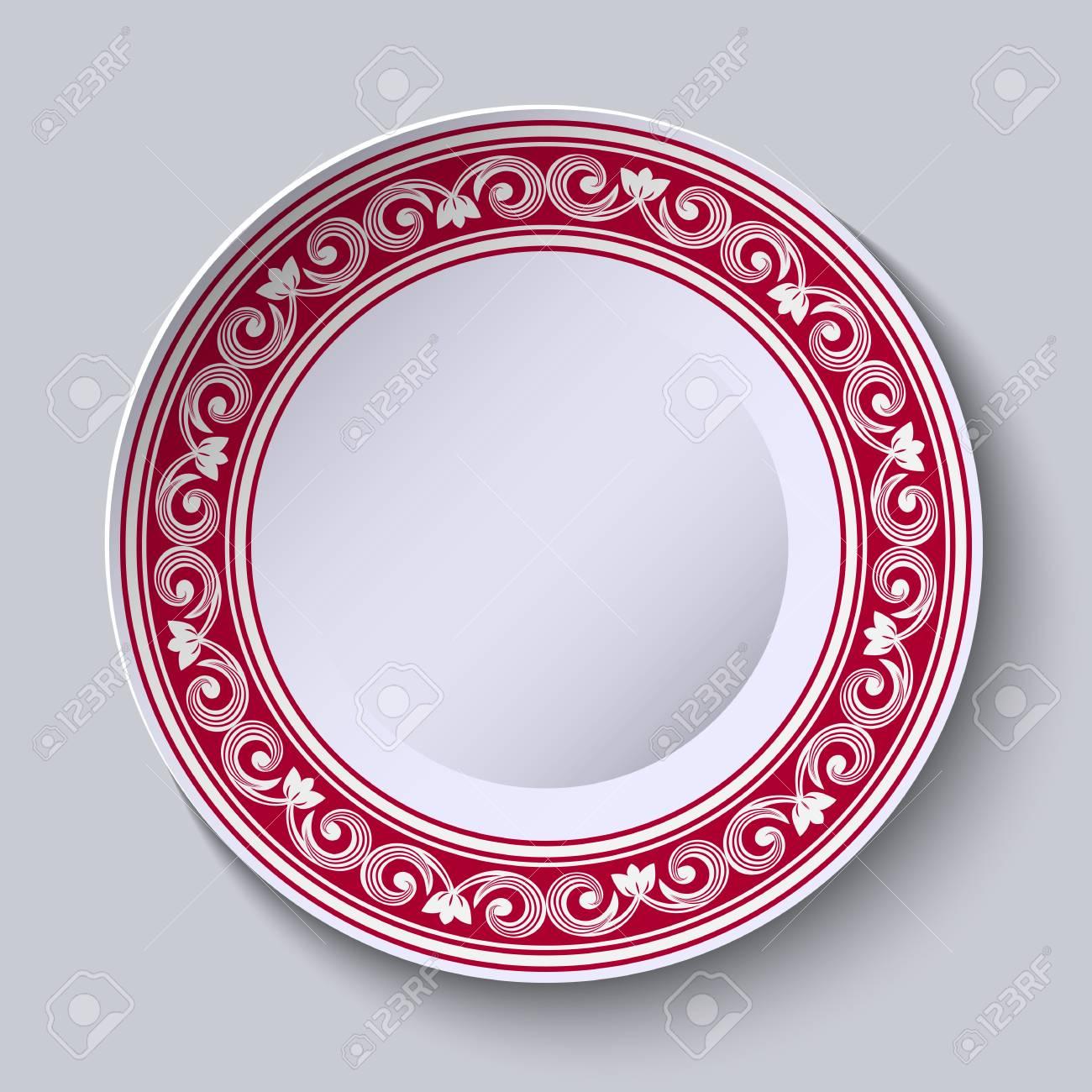 Peinture Sur Porcelaine Assiette assiette avec bordure ornementale rouge. modèle de conception dans la  peinture de porcelaine chinoise de style ethnique. illustration vectorielle