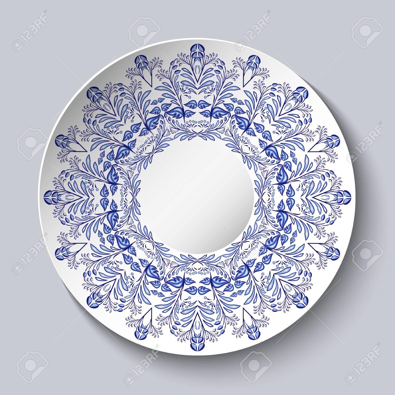 Peinture Sur Porcelaine Assiette assiette en porcelaine à motif floral bleu. imitation de la peinture sur  porcelaine chinoise ou russe. illustration vectorielle