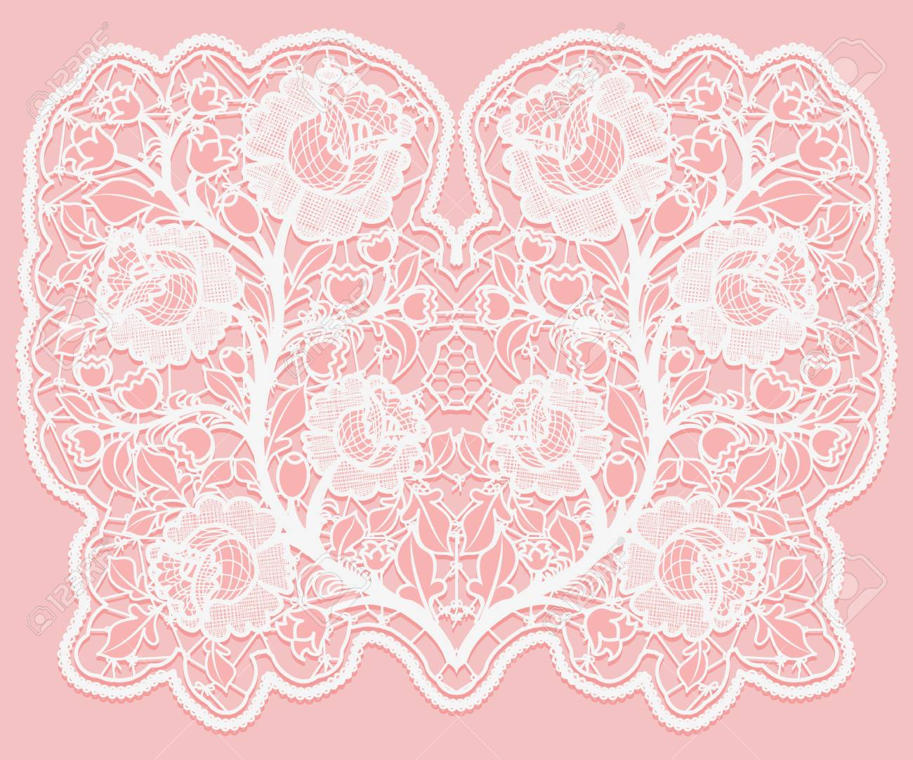 Lacy Floral Bouquet White Lace Flowers And A Grid On A Pink