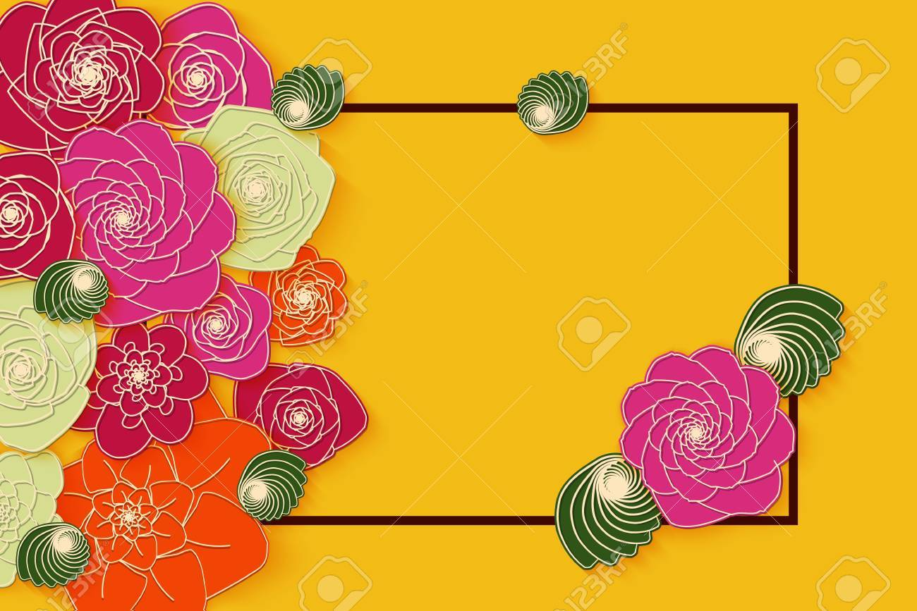 Summer Banner Design With Bright Paper Flowers For Party For