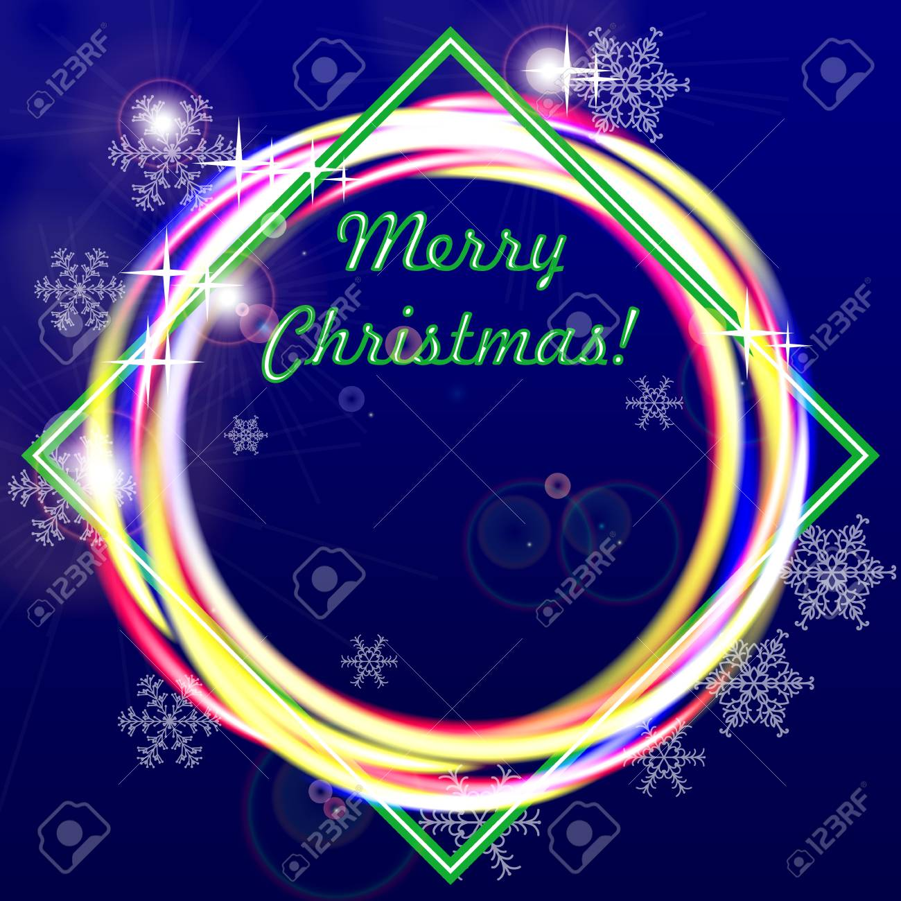 Merry Christmas greeting card or banner. Dark blue background and glowing rings. Vector illustration