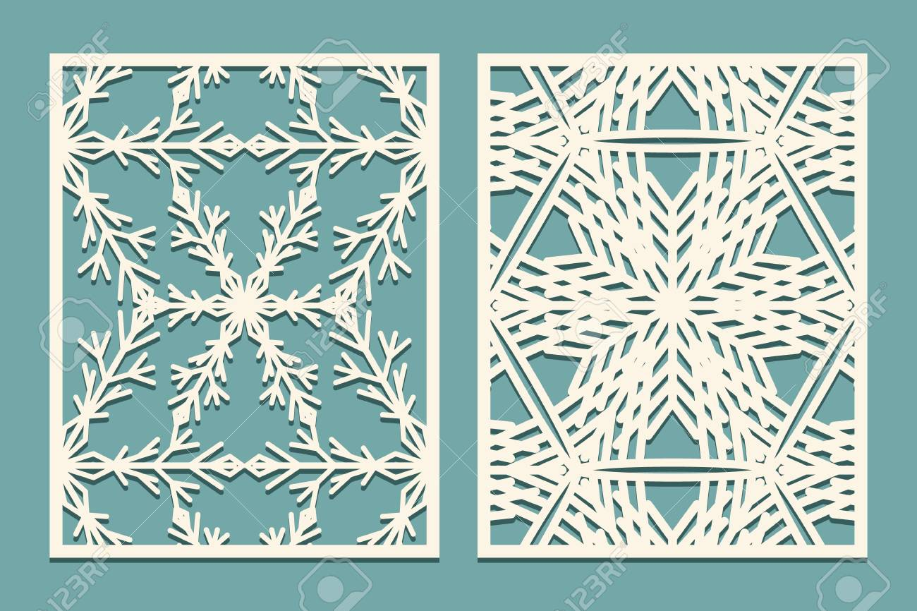 die and laser cut decorative panels with snowflakes pattern