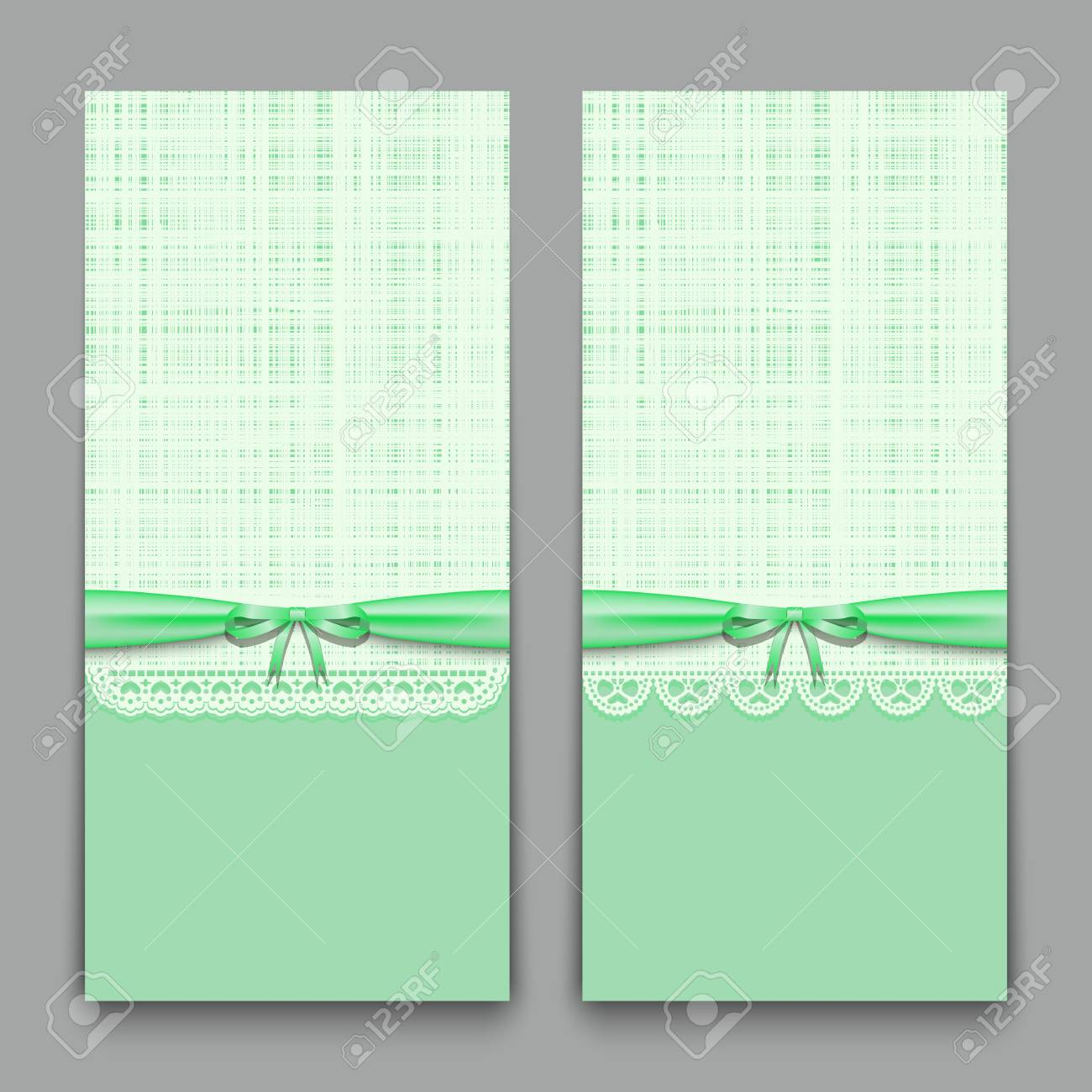 Lacy Green Cards With Ribbon And Bow Template For Wedding