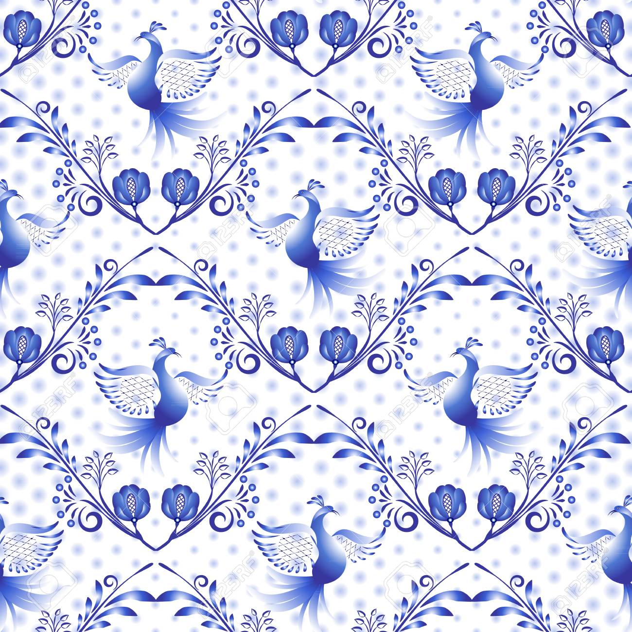 Russian Gzhel Pattern National Floral Background Seamless Navy