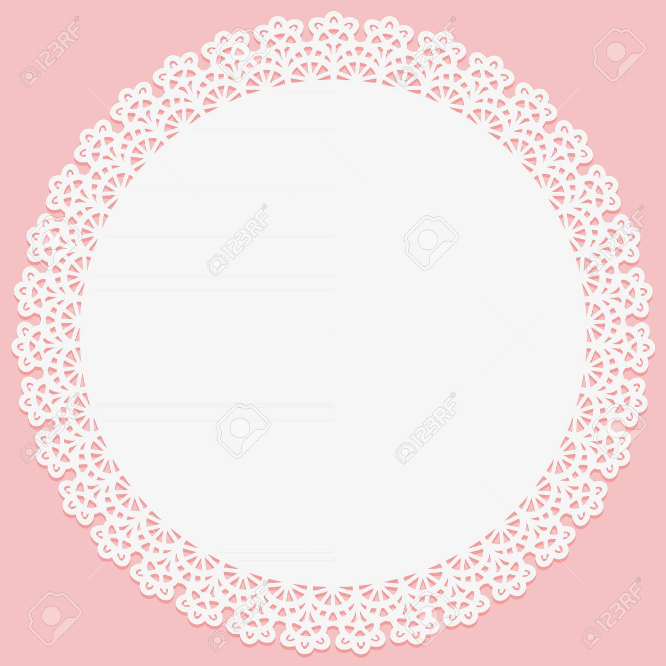 Round doily with lace on the edge on pink background. Slhouette is suitable for laser cutting. Vector illustration - 109933195