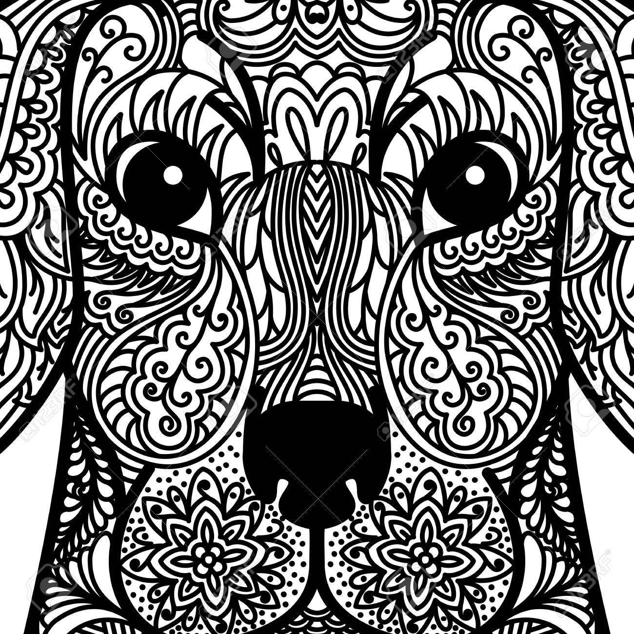 - Patterned Head Of Dog. Tattoo Design. Coloring Page. It May Be