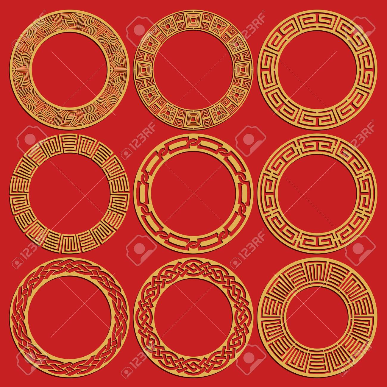 Round chinese frames set isolated on red background. Geometric circular oriental ornaments. Vector illustration - 137351348
