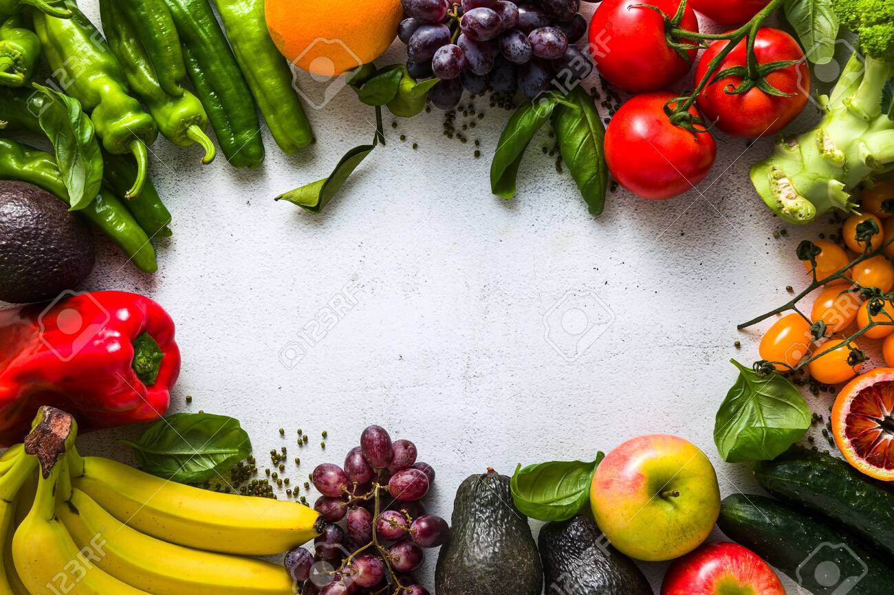 Fresh vegetables and fruits on a white kitchen table. Background for supermarkets, fresh food stores, delivery. - 149207993