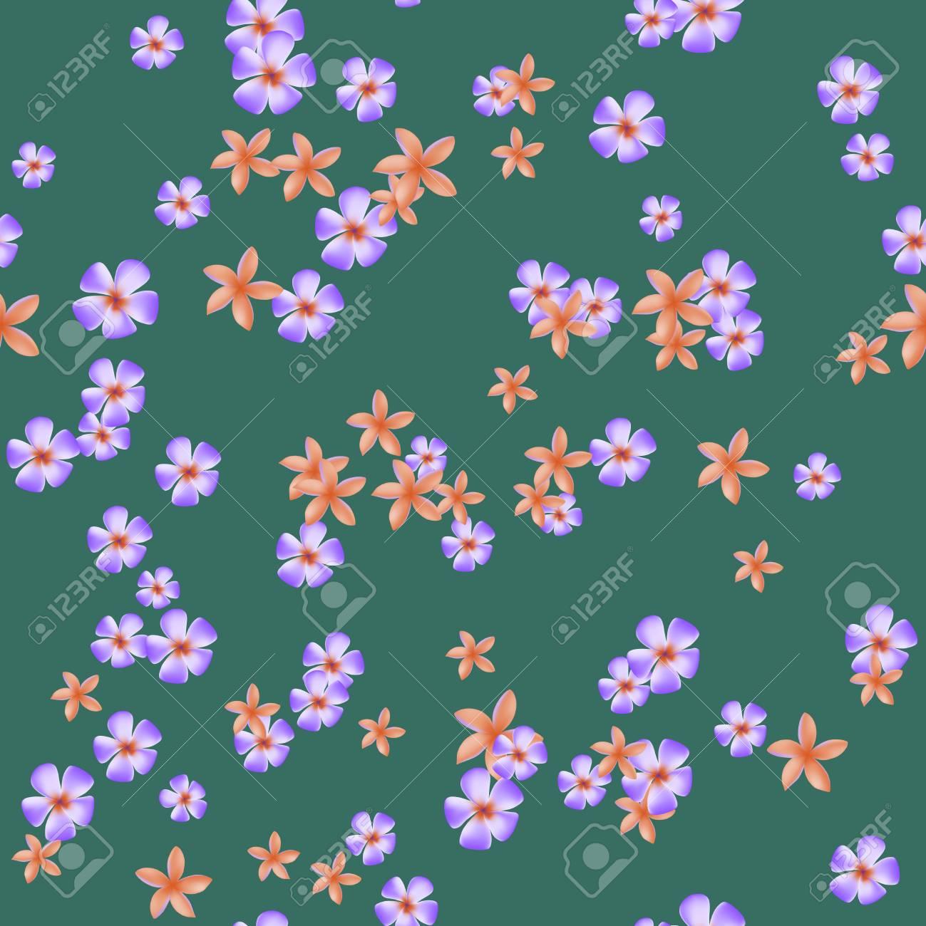 Fiori Di Plumeria Arancioni E Viola Su Sfondo Verde Modello Senza Soluzione Di Continuità