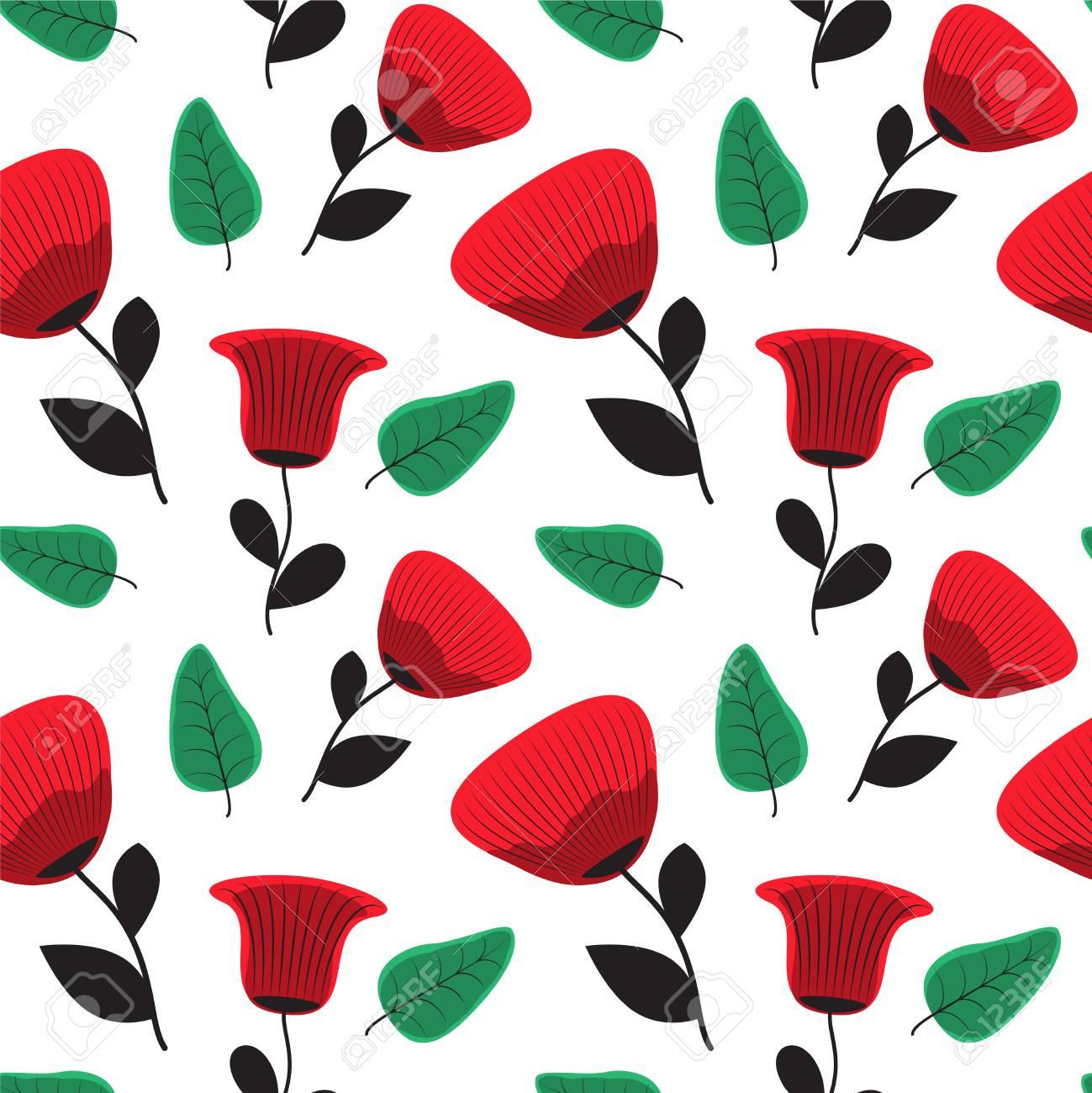 Seamless Poppy Flower Pattern Stock Vector