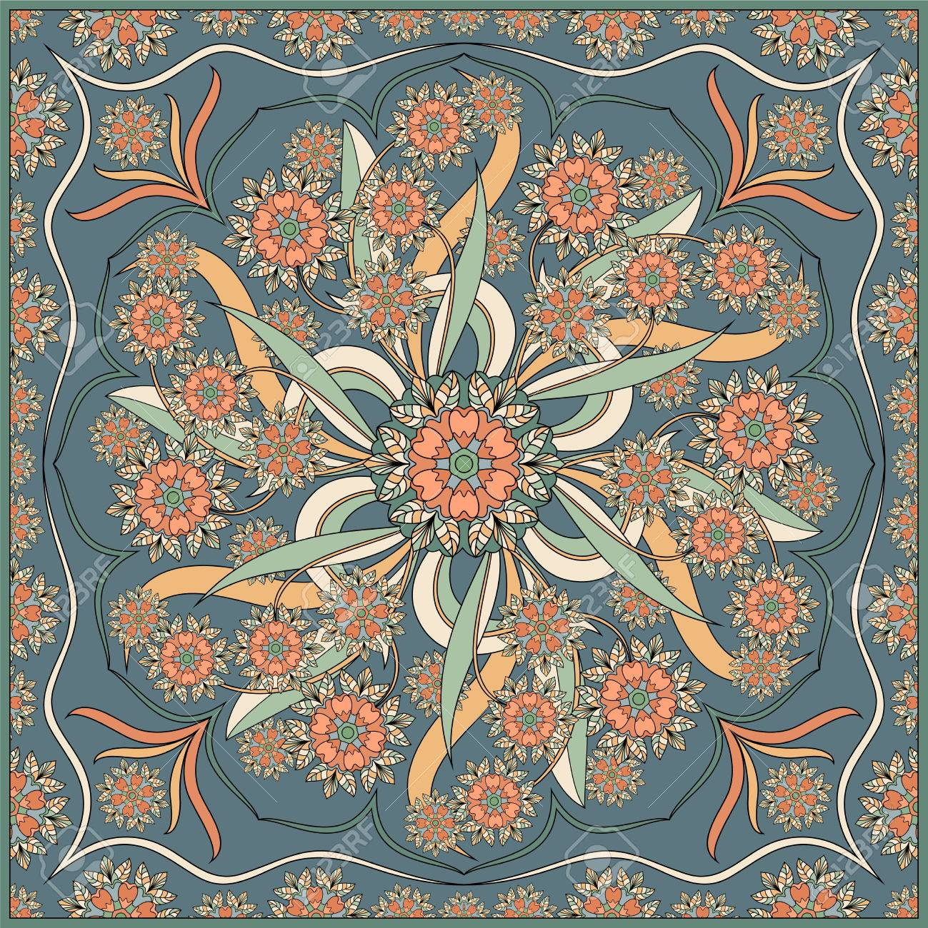 Detailed floral pattern for scarf, shawl, carpet or embroidery. Vector illustration. - 61067102