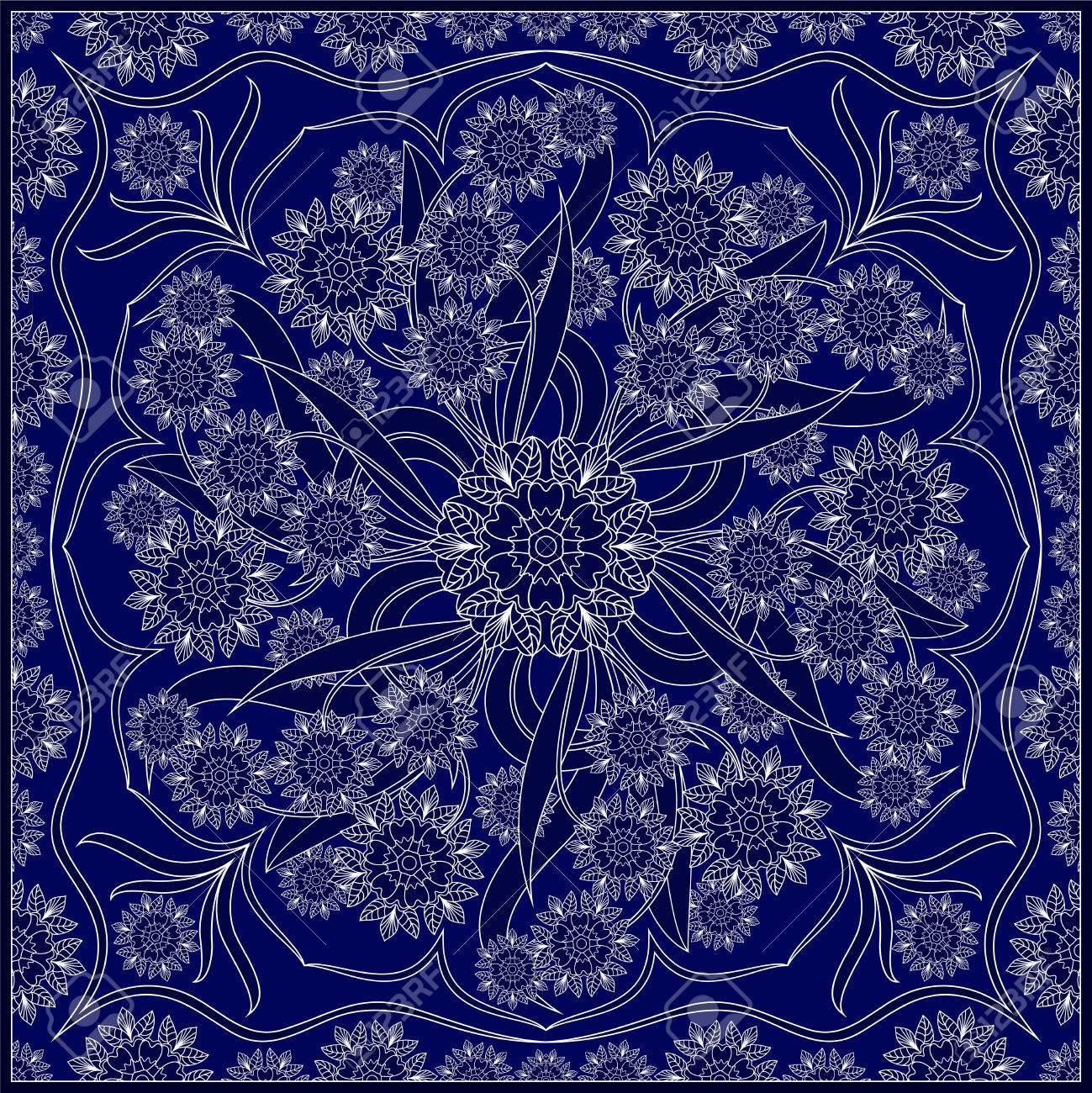 verzierung fr schal mit weiem muster auf blauem hintergrund sie knnen fr teppich schal - Schal Muster