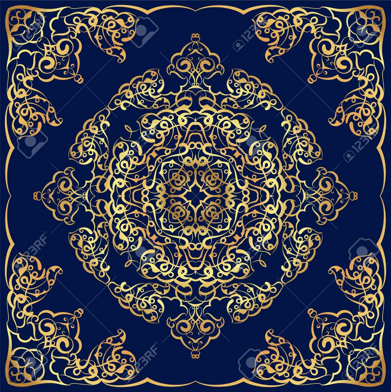 Vettoriale Ornamento Per La Sciarpa Con Disegno In Oro Su Sfondo