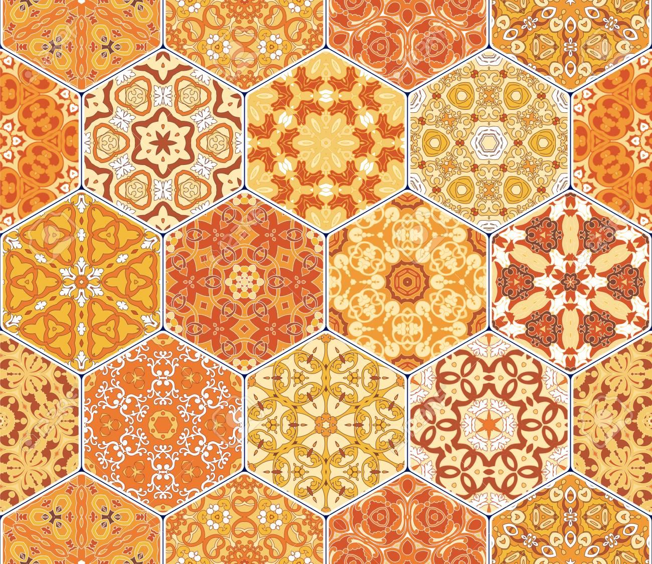 Carreaux De Modele Sans Couture Orange Vif Ensemble Colore Vecteur
