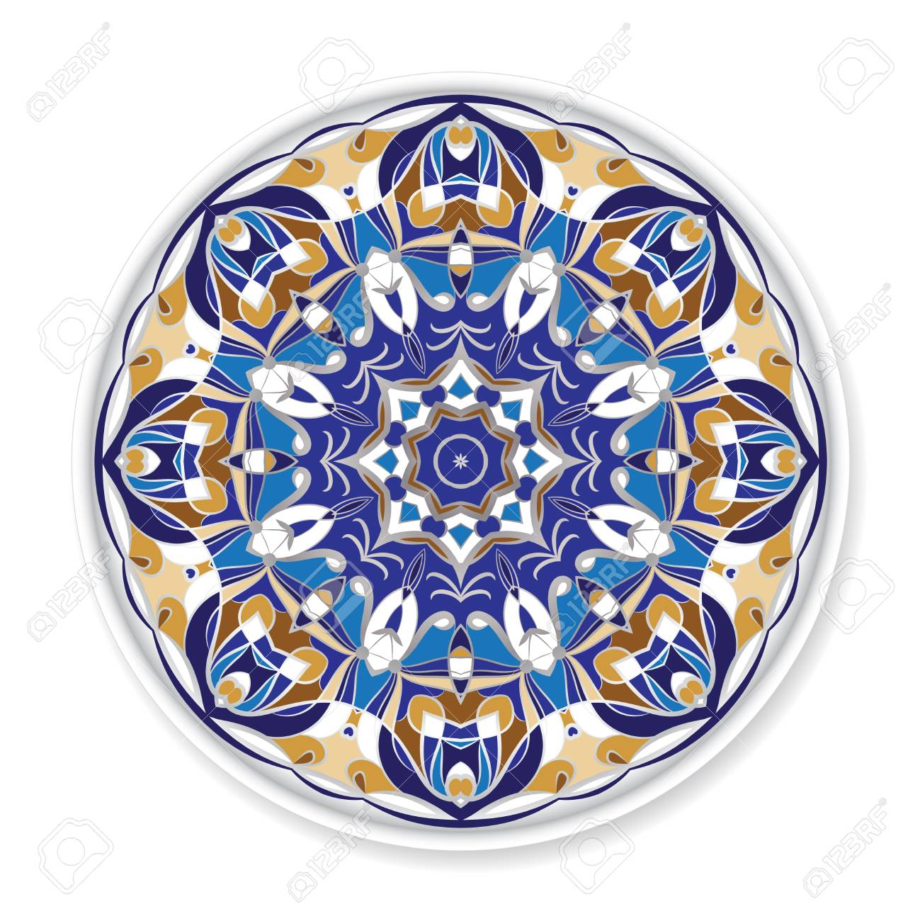 Decorative plate with round ornament in ethnic style. Home decor..