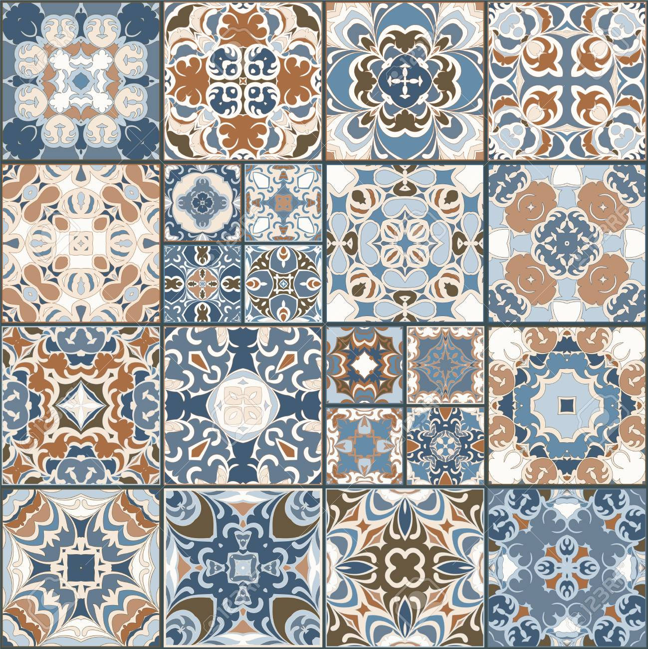 A Collection Of Ceramic Tiles In Retro Colors. A Set Of Square ...
