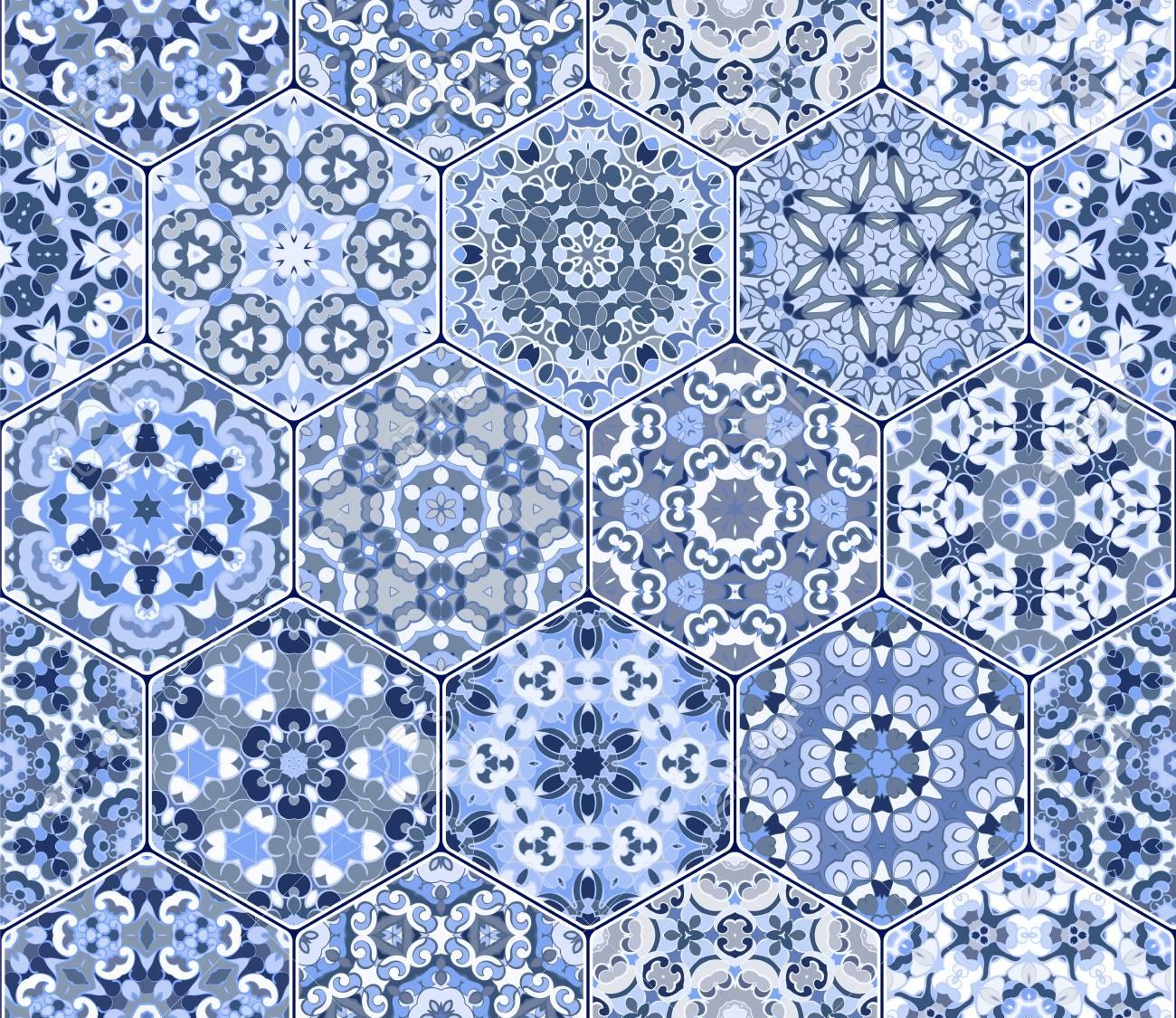 Seamless Hexagonal Mosaic Tiles In Vector Set. Oriental And Ethnic ...