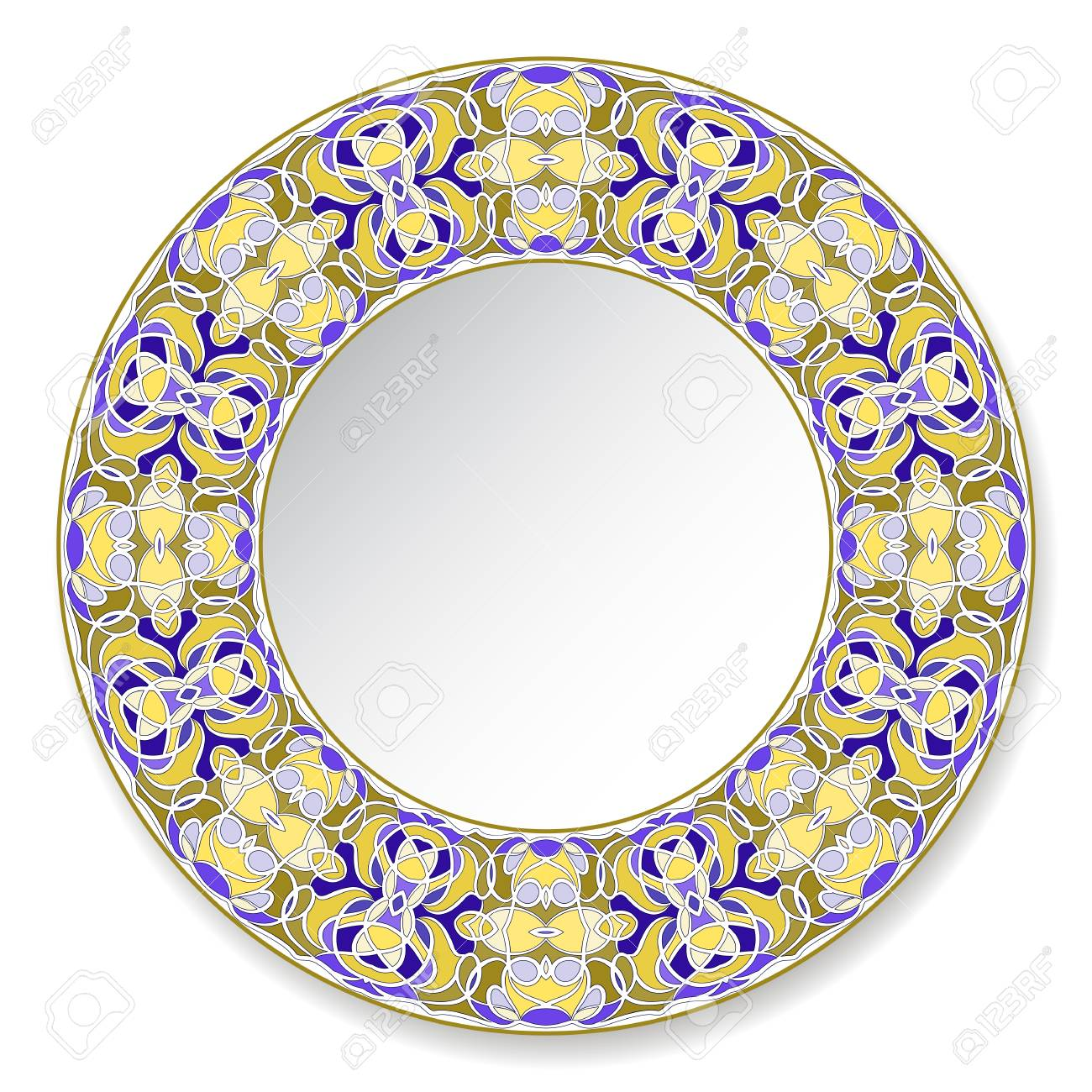 Colorfull decorative plate with pattern in Oriental style. A circular ornament for your design. Vector illustration. - 127072177