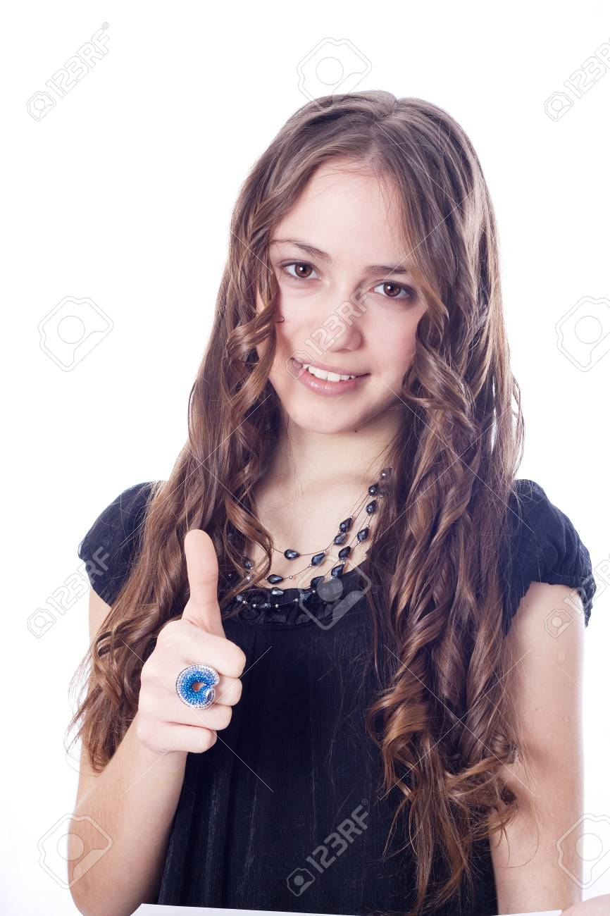 Perfect business woman showing OK hand sign smiling happy Stock Photo - 17414880
