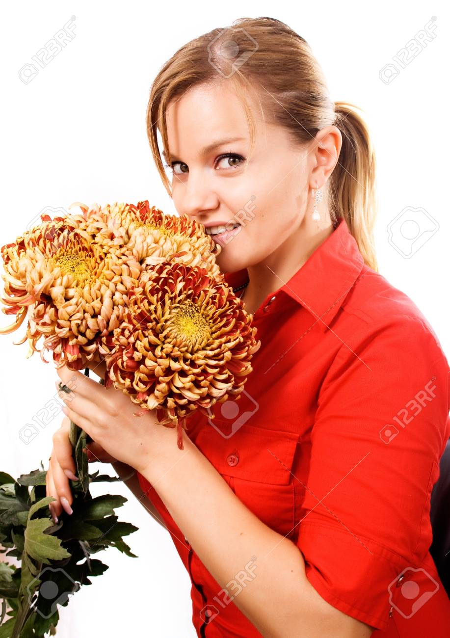 Beautiful Young Woman With Chrysanthemums