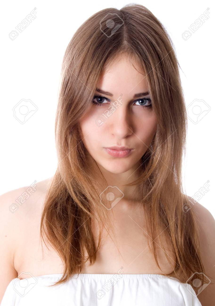Portrait of beautiful female model on white background Stock Photo - 17449378