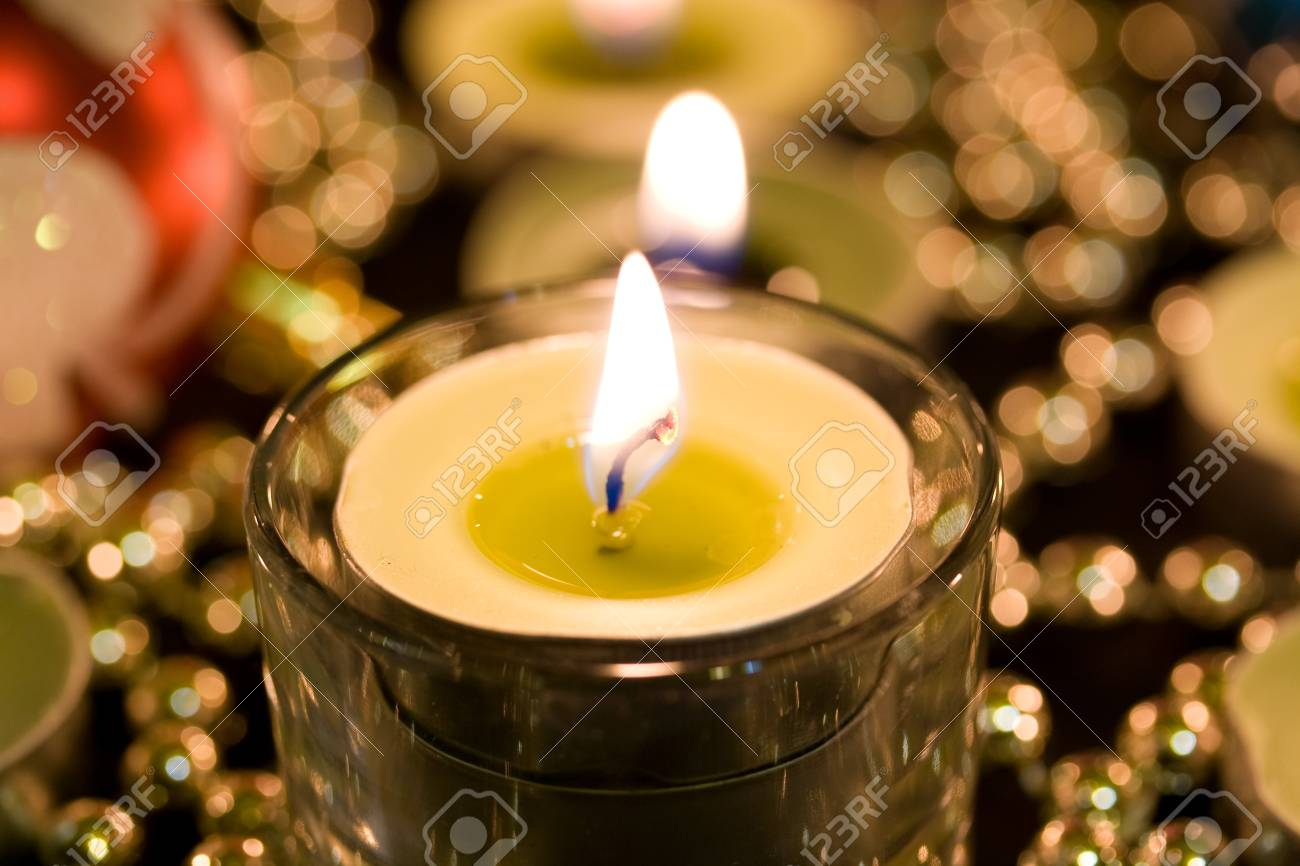 Burning candle on a background blur Stock Photo - 17969133
