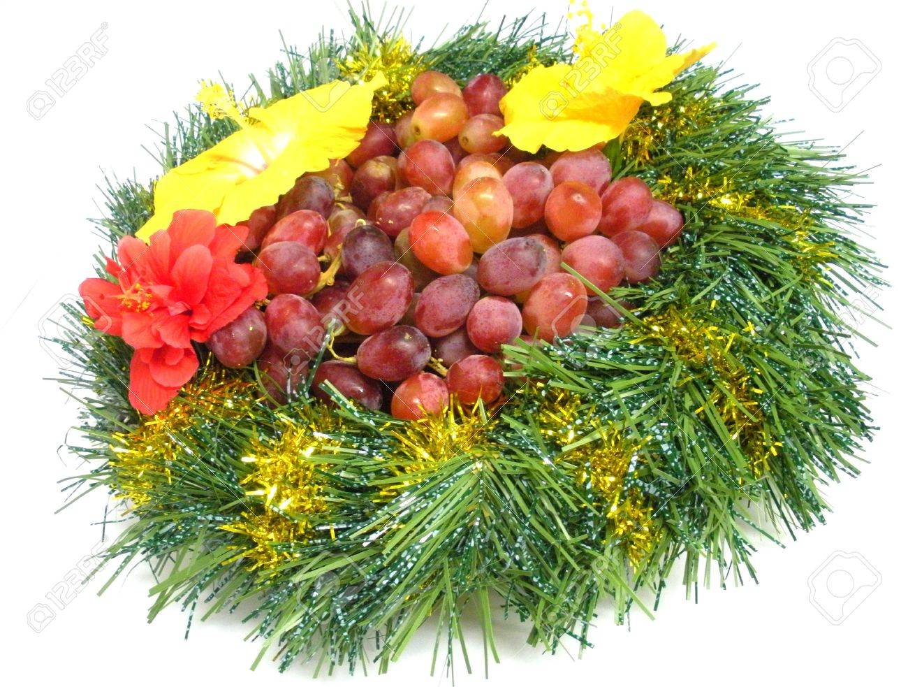 Wreath for Christmas with grapes and hibiscus flowers. Stock Photo - 5969937