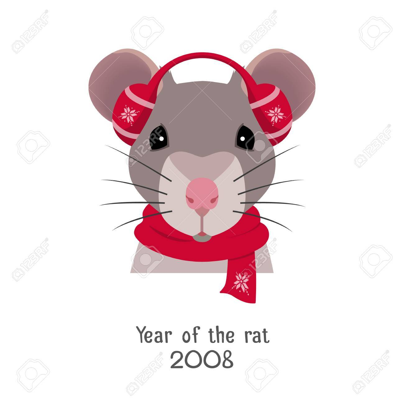 Vector Rat Head In Red Headphones And New Yearchristmas Scarf