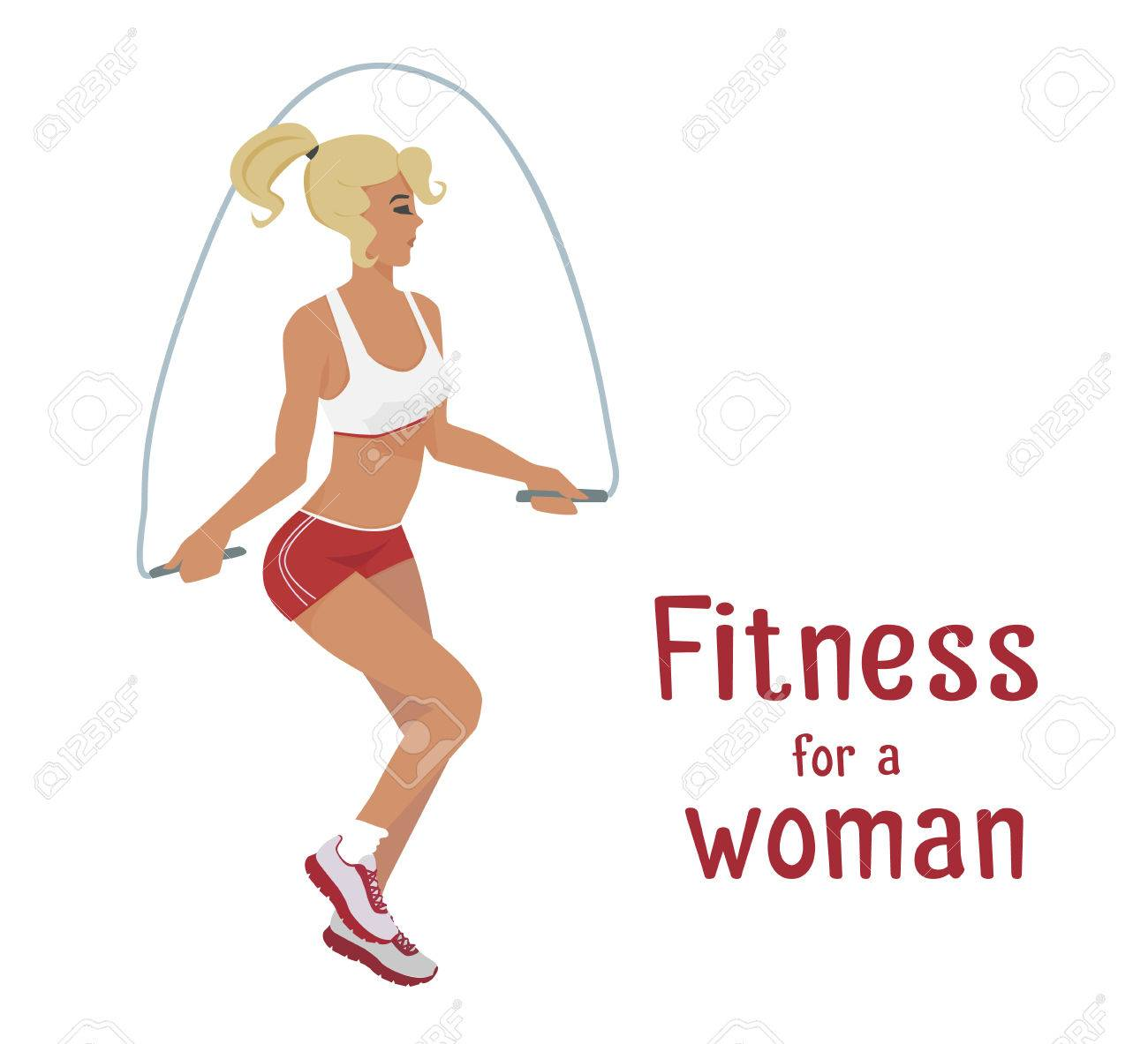Vector Girl In Red Makes Skipping Rope Exercises Flat Cartoon Royalty Free Cliparts Vectors And Stock Illustration Image 69113867