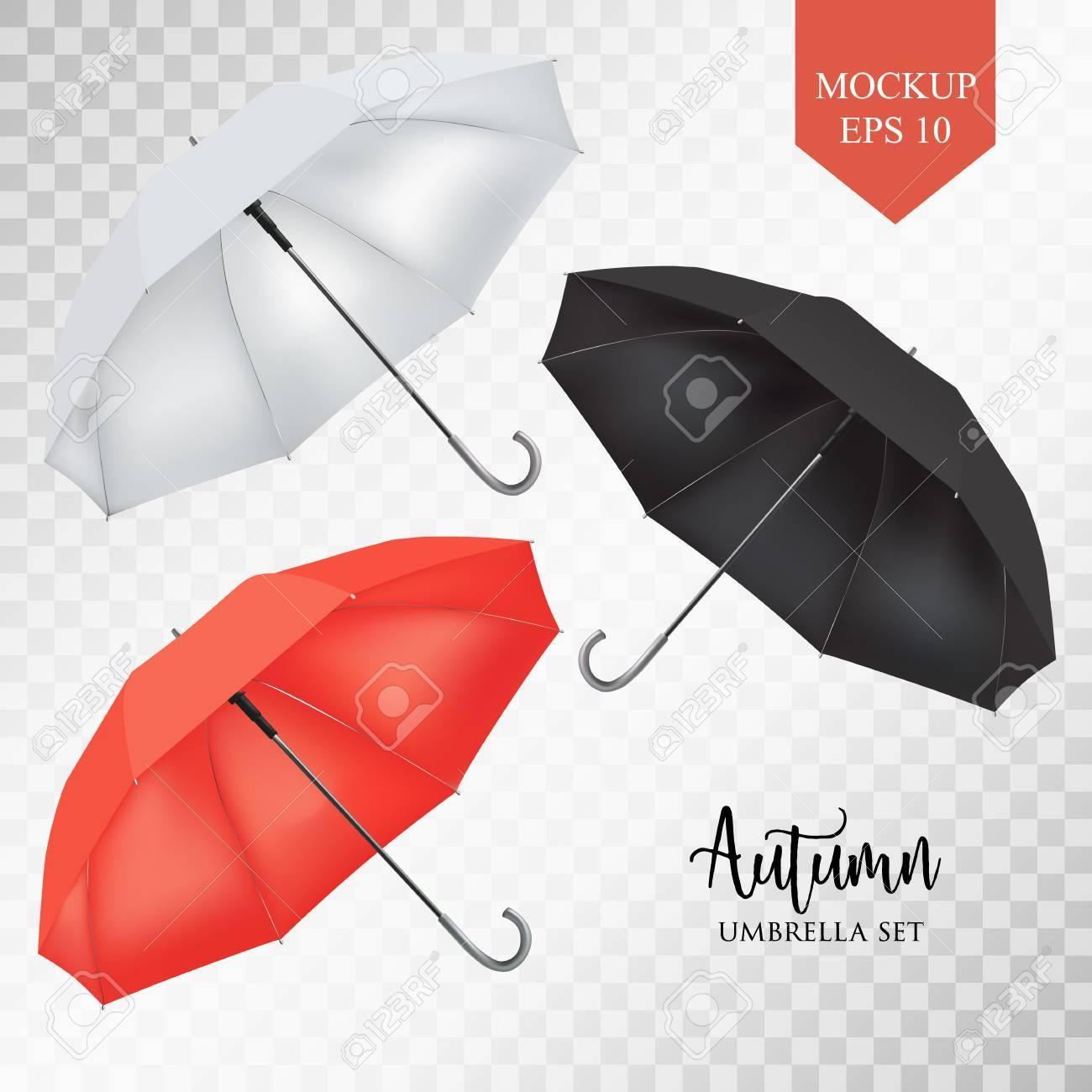 Vector Realistic Parasol Rain Umbrella Sunshade Set Red White