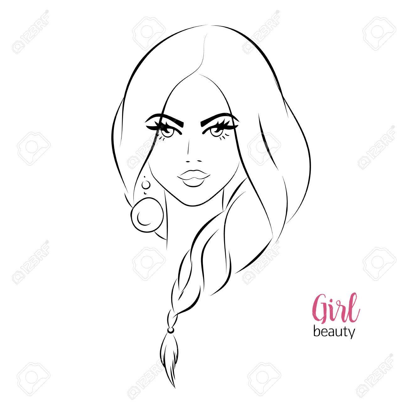 美しい女性太いまつげや髪のイラストで女の子の顔のクローズ アップの