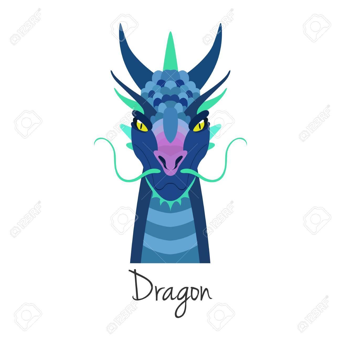 Face Dragon Bleu Vecteur Isole Animal Symbole Du Zodiaque Chinois