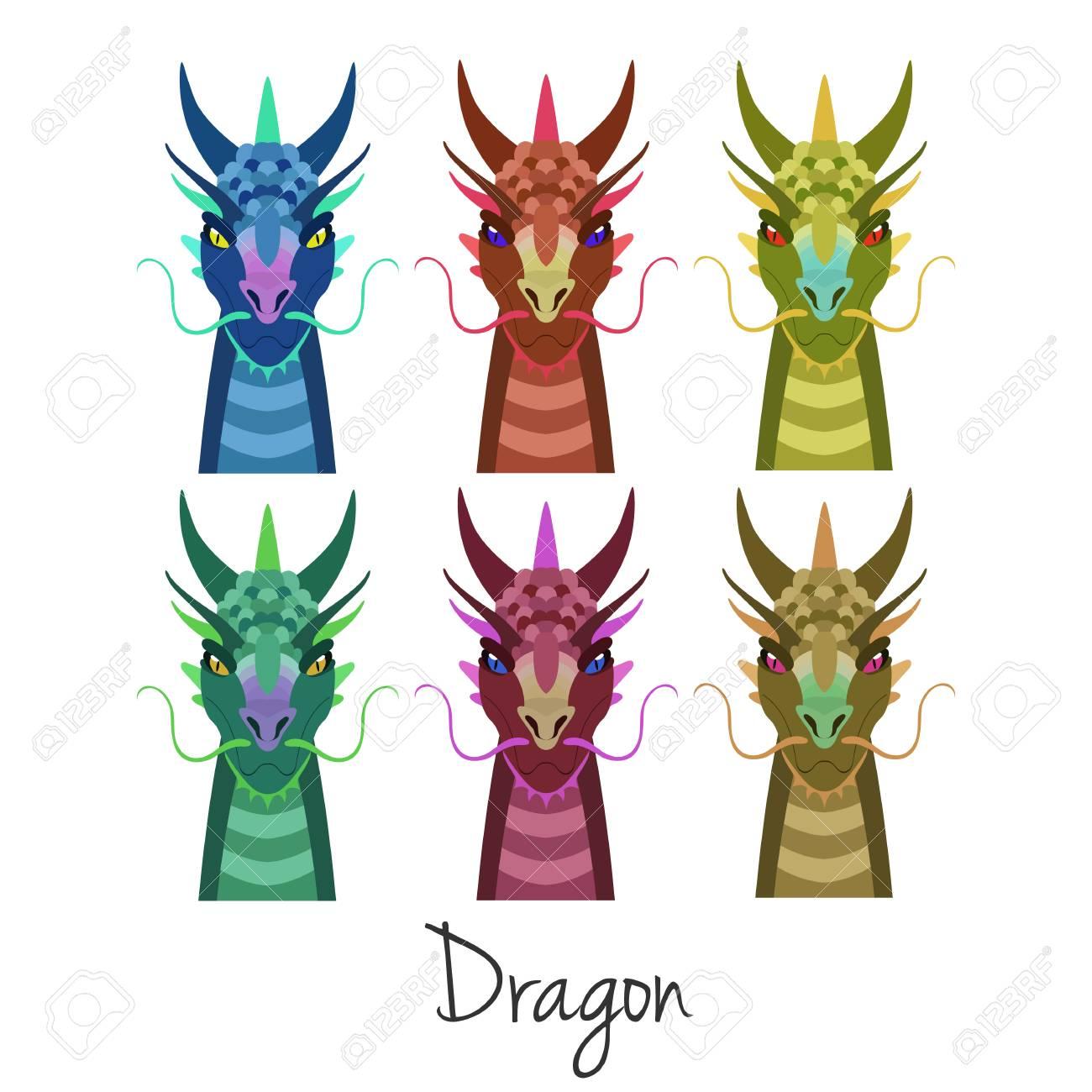 Vector De Color Cabeza De Dragón Conjunto Aislado. Animal Del ...