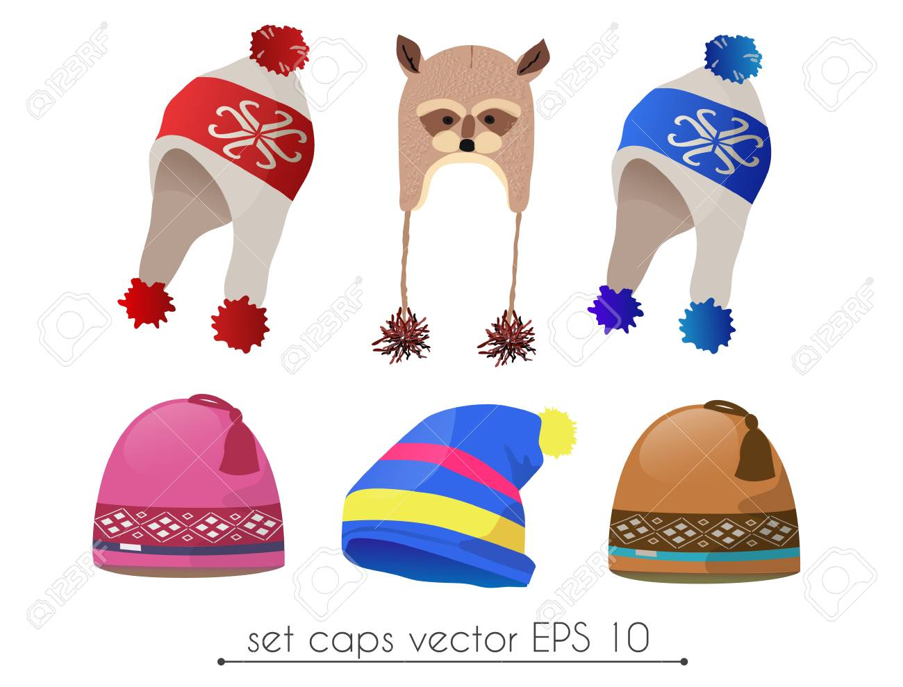 Vector Set Of Realistic Winter Hat Fancy Royalty Free Cliparts ... 2ca56bb0d9a6