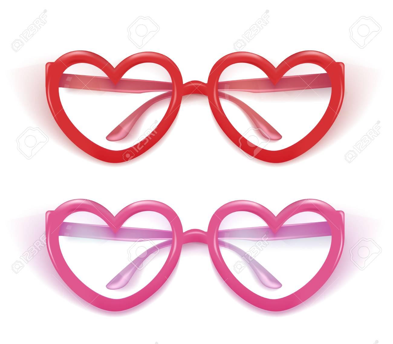 de3a3db23f Vector Realistic Heart Shaped Eyeglasses. Royalty Free Cliparts ...