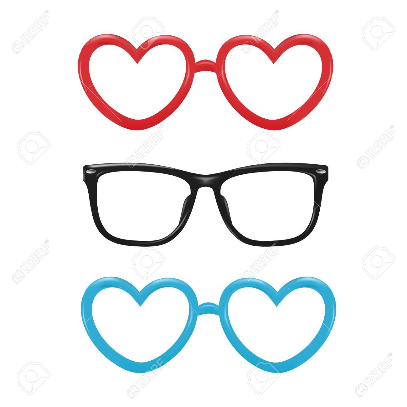 d77788f0239 A Vector realistic eyeglasses heart shape photo booth Stock Vector -  96173838