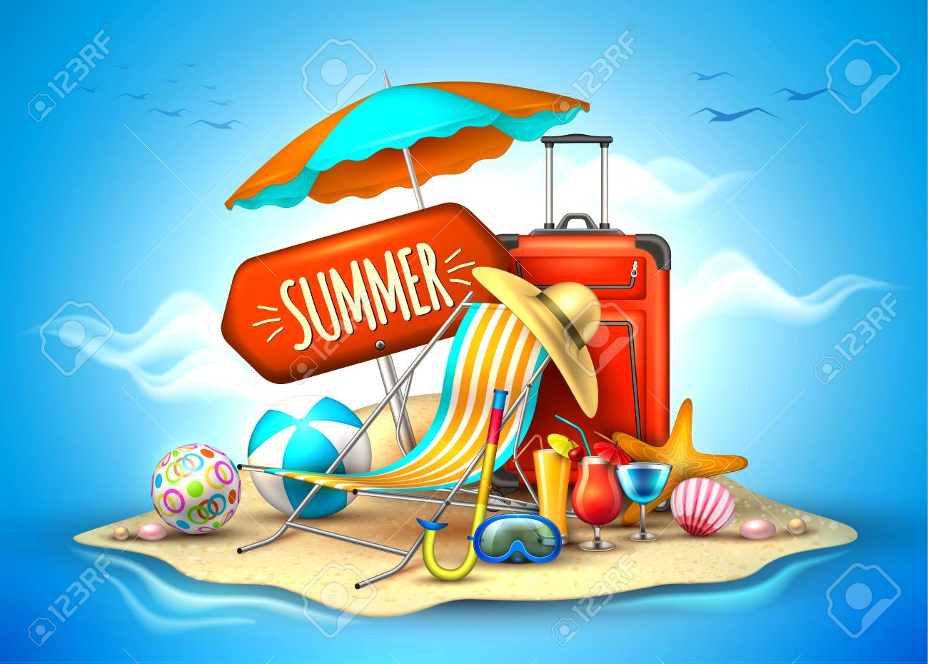 A Vector Summer Vacation Realistic 3d Poster Stock Vector 96173941