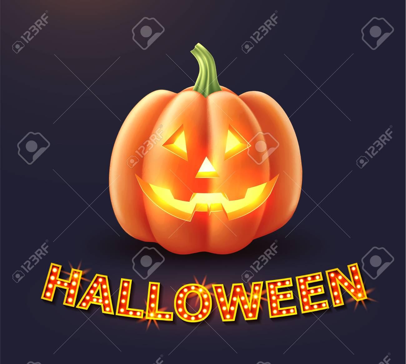 Vector Jack O Lanterns Scary Pumpkin Face Halloween Holiday Realistic Royalty Free Cliparts Vectors And Stock Illustration Image 111492942