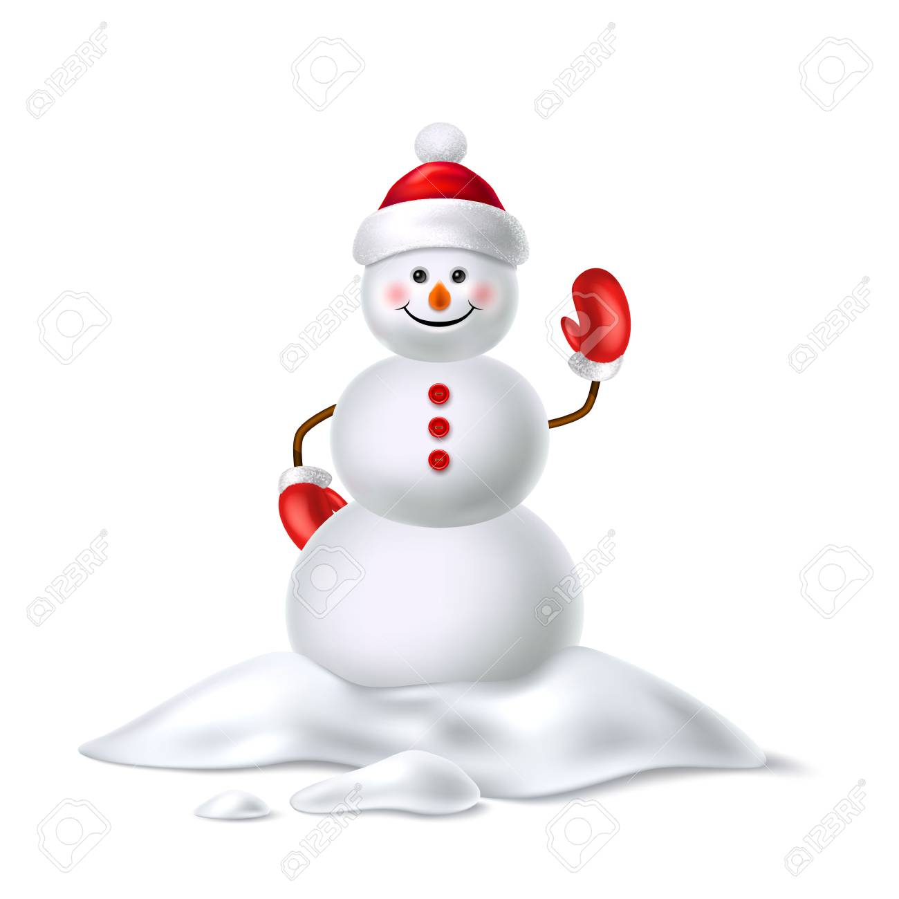 8ffd4b42f9a47 Vector - Vector realistic snowman smiling waving hand. Cute new year